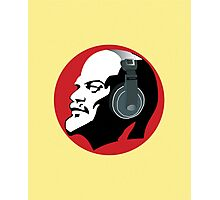 Lenin with Headphones (Yellow and Red) Photographic Print