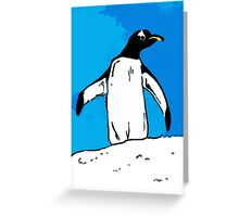 Penguin with blue sky Greeting Card