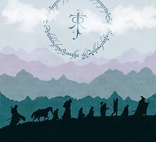 Fellowship Silhouette - Misty Mountains by Denise Giffin