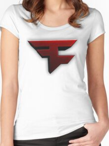 Faze Clan | Red Logo | White Background | High Quality Women's Fitted Scoop T-Shirt