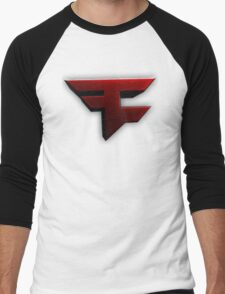 Faze Clan | Red Logo | White Background | High Quality Men's Baseball ¾ T-Shirt