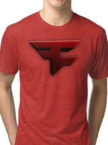 Faze Clan   Red Logo   White Background   High Quality Tri-blend T-Shirt