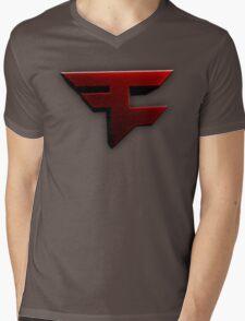 Faze Clan   Red Logo   White Background   High Quality Mens V-Neck T-Shirt