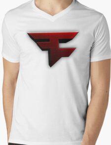 Faze Clan | Red Logo | White Background | High Quality Mens V-Neck T-Shirt