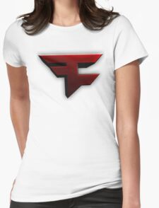 Faze Clan | Red Logo | White Background | High Quality Womens Fitted T-Shirt