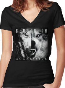 Beartooth Aggressive Cover Women's Fitted V-Neck T-Shirt