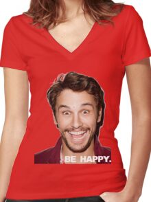 BE HAPPY. Women's Fitted V-Neck T-Shirt