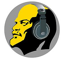 Lenin with Headphones Photographic Print
