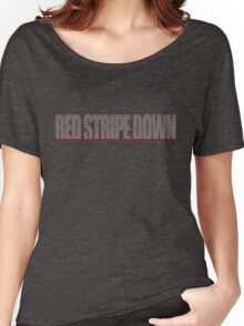Red Stripe Down Women's Relaxed Fit T-Shirt