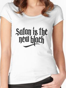 Satan is the new black No.2 (black) Women's Fitted Scoop T-Shirt