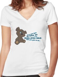 Cross-Eyed Bear that you gave to me Women's Fitted V-Neck T-Shirt