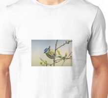 Blue tit on pussy willow Unisex T-Shirt