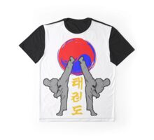taekwondo badge grey korean martial art kick and punch Graphic T-Shirt