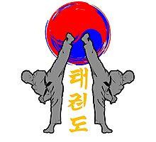 taekwondo badge grey korean martial art kick and punch Photographic Print