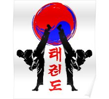 taekwondo badge black high kick korean martial art kick and punch Poster