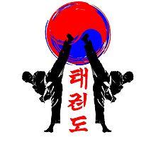 taekwondo badge black high kick korean martial art kick and punch Photographic Print