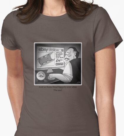 "Citizen Kane Finds ""Rosebud"" (Film Geek Humor) Womens Fitted T-Shirt"