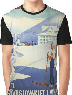 Ski Czechoslovakia Travel Poster Graphic T-Shirt
