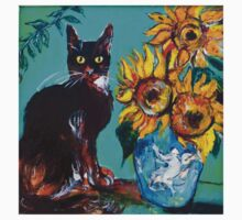 SUNFLOWERS WITH BLACK CAT IN BLUE TURQUOISE  Kids Tee