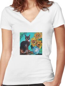 SUNFLOWERS WITH BLACK CAT IN BLUE TURQUOISE  Women's Fitted V-Neck T-Shirt