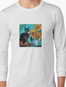 SUNFLOWERS WITH BLACK CAT IN BLUE TURQUOISE  Long Sleeve T-Shirt