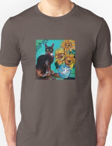 SUNFLOWERS WITH BLACK CAT IN BLUE TURQUOISE  Unisex T-Shirt