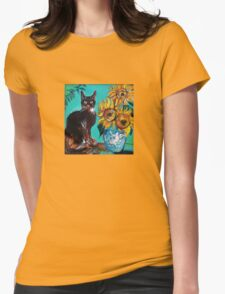 SUNFLOWERS WITH BLACK CAT IN BLUE TURQUOISE  Womens Fitted T-Shirt