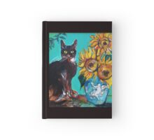 SUNFLOWERS WITH BLACK CAT IN BLUE TURQUOISE  Hardcover Journal