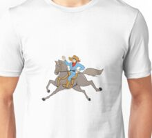 Cowboy Riding Horse Waving Cartoon Unisex T-Shirt