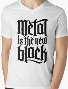 Metal is the new black No.4 (black) Mens V-Neck T-Shirt