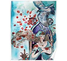 ORIENTAL FAIRY TALE / PRINCESS ,RED ROSES AND FLYING  HAWK Poster