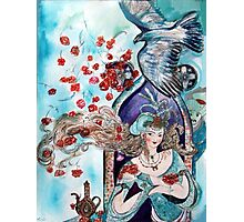 ORIENTAL FAIRY TALE / PRINCESS ,RED ROSES AND FLYING  HAWK Photographic Print