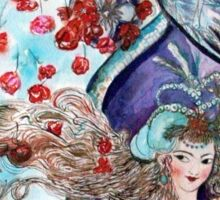 ORIENTAL FAIRY TALE / PRINCESS ,RED ROSES AND FLYING  HAWK Sticker