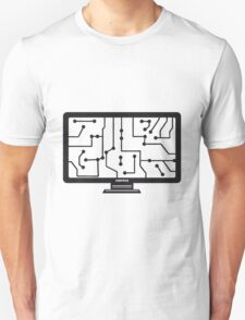 wire connections data microchip electronically screen tv pc computer display image design T-Shirt