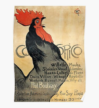 Cocorico - French Vintage Art Poster with Rooster Poster