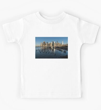 Luminous Blue, Silver and Gold - Manhattan Skyline and East River Kids Tee