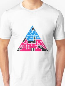 data triangular form microchip technology cool design pattern colorful Unisex T-Shirt