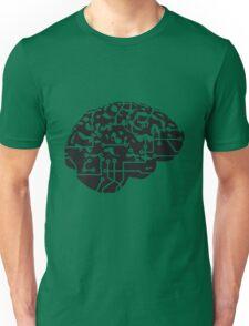 cyborg brain machine computer science fiction microchip intelligence brain design cool robot black Unisex T-Shirt