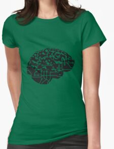 cyborg brain machine computer science fiction microchip intelligence brain design cool robot black Womens Fitted T-Shirt