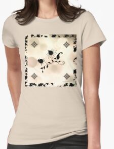 Cream Flowers Scarf & Skirt Womens Fitted T-Shirt