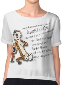 Calvin & Hobbes Go Backwards Down the Number Line (Phish) Chiffon Top