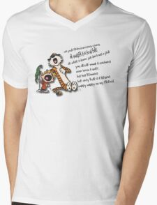 Calvin & Hobbes Go Backwards Down the Number Line (Phish) Mens V-Neck T-Shirt
