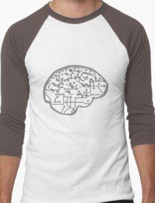 cyborg brain machine computer science fiction microchip intelligence brain design cool robot Men's Baseball ¾ T-Shirt