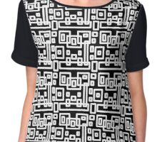 Geometric Rectangle Design Black and White Chiffon Top