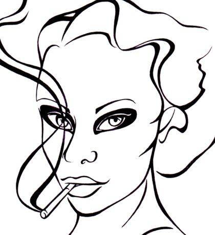Woman with cigarette. Sticker