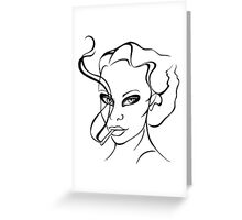 Woman with cigarette. Greeting Card