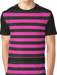 Pink and Black Banded Design  Graphic T-Shirt