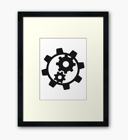 cool cogs design engine clockwork turn mechanically logo Framed Print