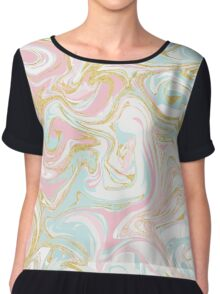 Pink Blue and Gold Ink Marble Chiffon Top