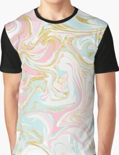 Pink Blue and Gold Ink Marble Graphic T-Shirt
